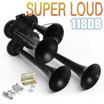 Black Metal 12/24V FOUR 4 Trumpet Air Horn Car Truck Train Semi 118DB Hardware