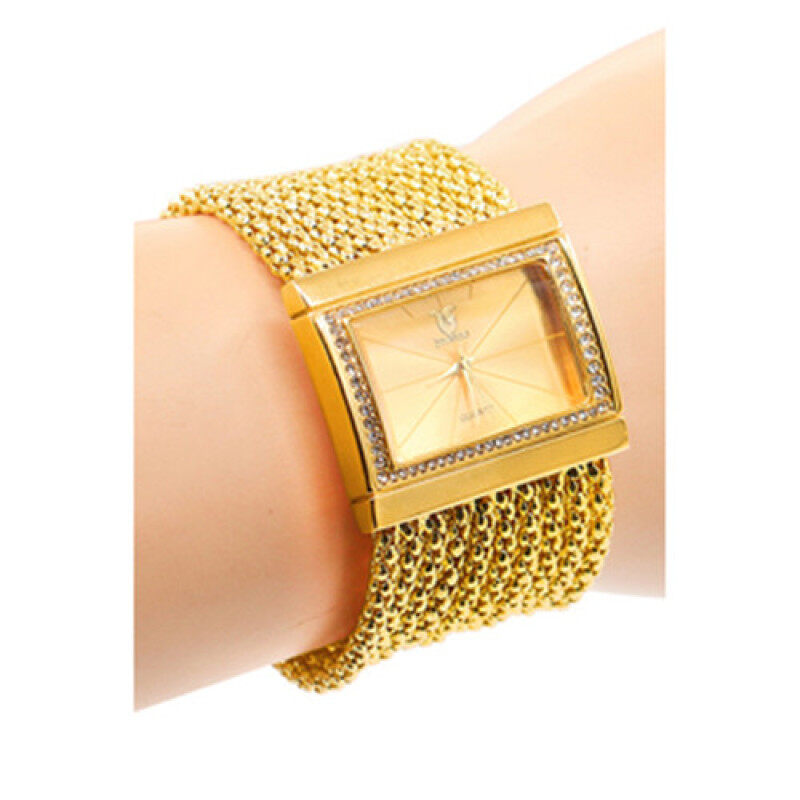 Bluelans Womens Quartz Gold Diamond Case Alloy Band Bracelet Watch Malaysia