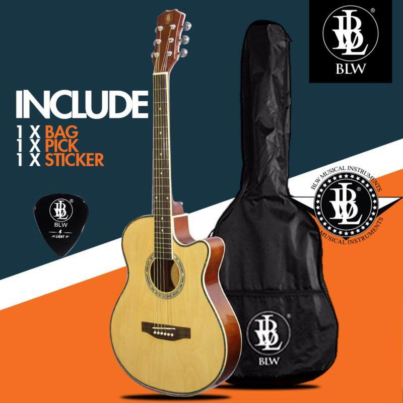 BLW Slimcoustic Slim Petit Acoustic Guitar for beginners with Guitar Bag, Guitar Pick and Merchandise Sticker (Beige) Malaysia