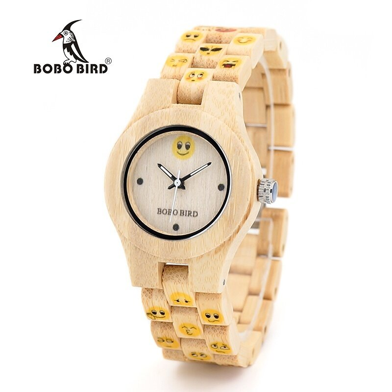 BOBO BIRD WO06 Bamboo Watch นาฬิกาข้อมือ es for Women New Fashion Created Emoji Face Full Bamboo Strap Quarta Watch นาฬิกาข้อมือ  for Ladies in Wood Box WO06