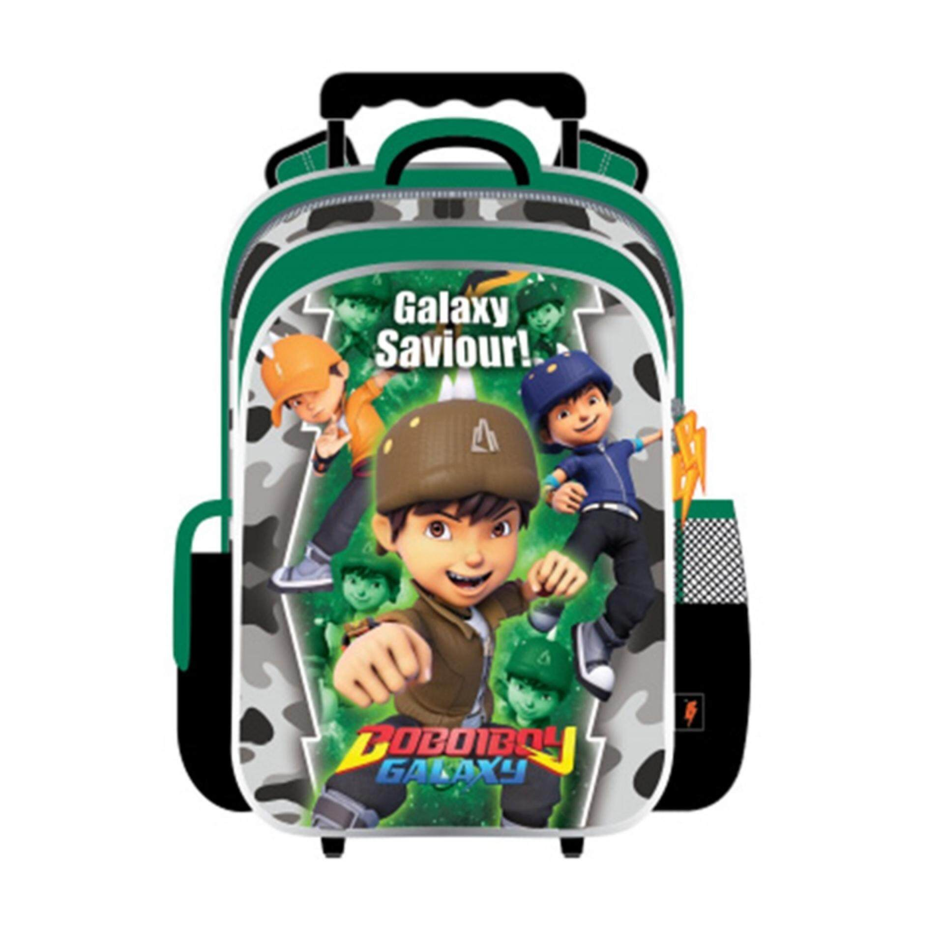 Komic Produk Terbaru Phillipe Joordan North Tas Backpack Wanita Hijau Canvas Boboiboy Galaxy School Trolley Bag Green Colour