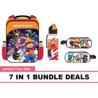 BoBoiBoy Pre School Bag, Water Bottle, Pencil Bag, Stationery 7 In 1 Bundle Deals