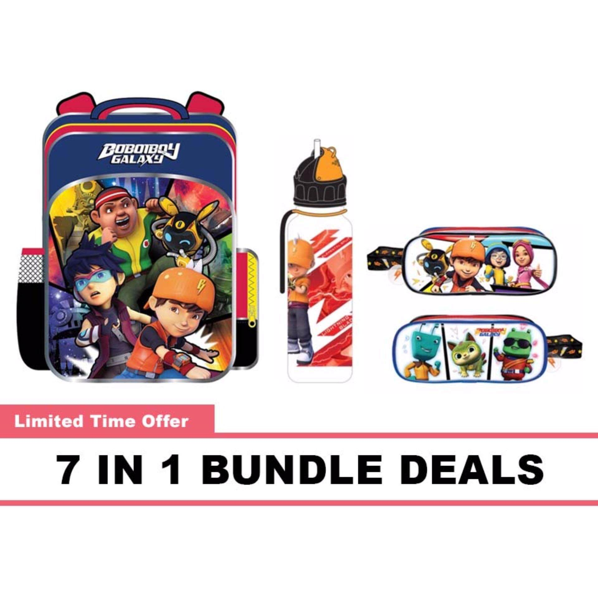BoBoiBoy School Bag, Water Bottle, Pencil Bag, Stationery 7 In 1 Bundle Deals