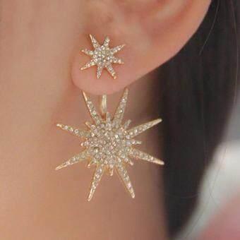 BODHI 1 Pc Elegant Shiny Rhinestone Stud Earrings Dance Cocktail Ear Jacket Jewelry