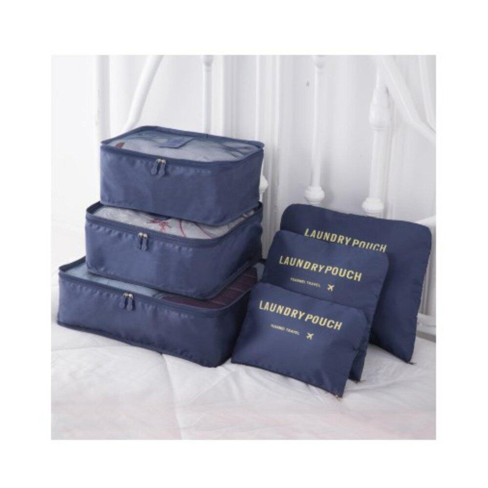 Bolster Store 6 in 1 Clothes Storage Bags Packing Cube Light Weight Travel Luggage Organizer Bag (Dark Blue)