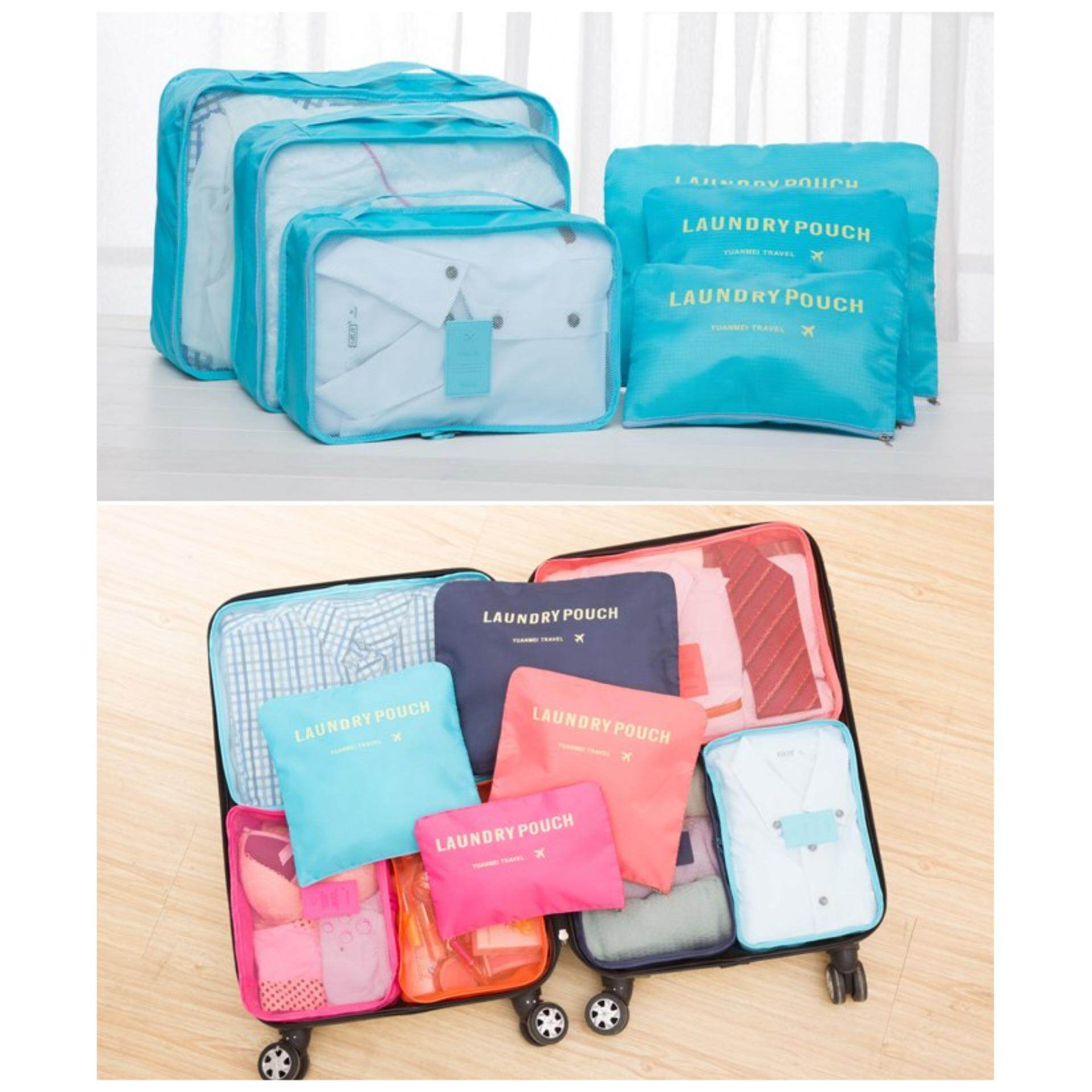 Bolster Store 6 in 1 Clothes Storage Bags Packing Cube Light Weight Travel Luggage Organizer Storage Bag (Blue)