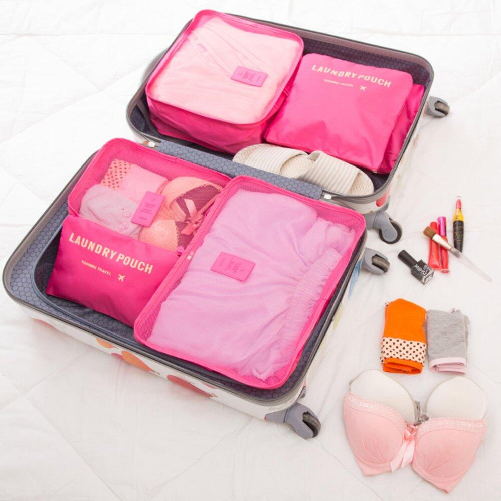 f2325717808d Bolster Store 6 in 1 Clothes Storage Bags Packing Cube Light Weight Travel  Luggage Organizer Storage Bag (Hot Pink)
