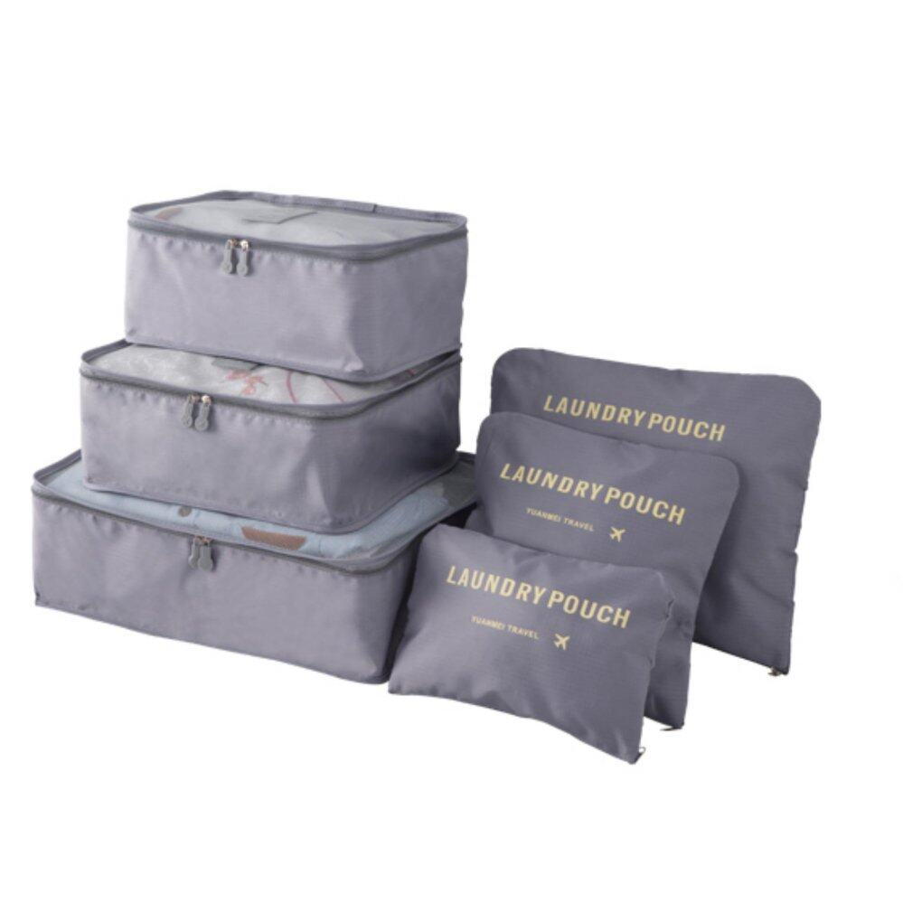 Bolster Store 6 in 1 Clothes Storage Bags Packing Cube Light Weight Travel Luggage Organizer Storage Bag (Grey)