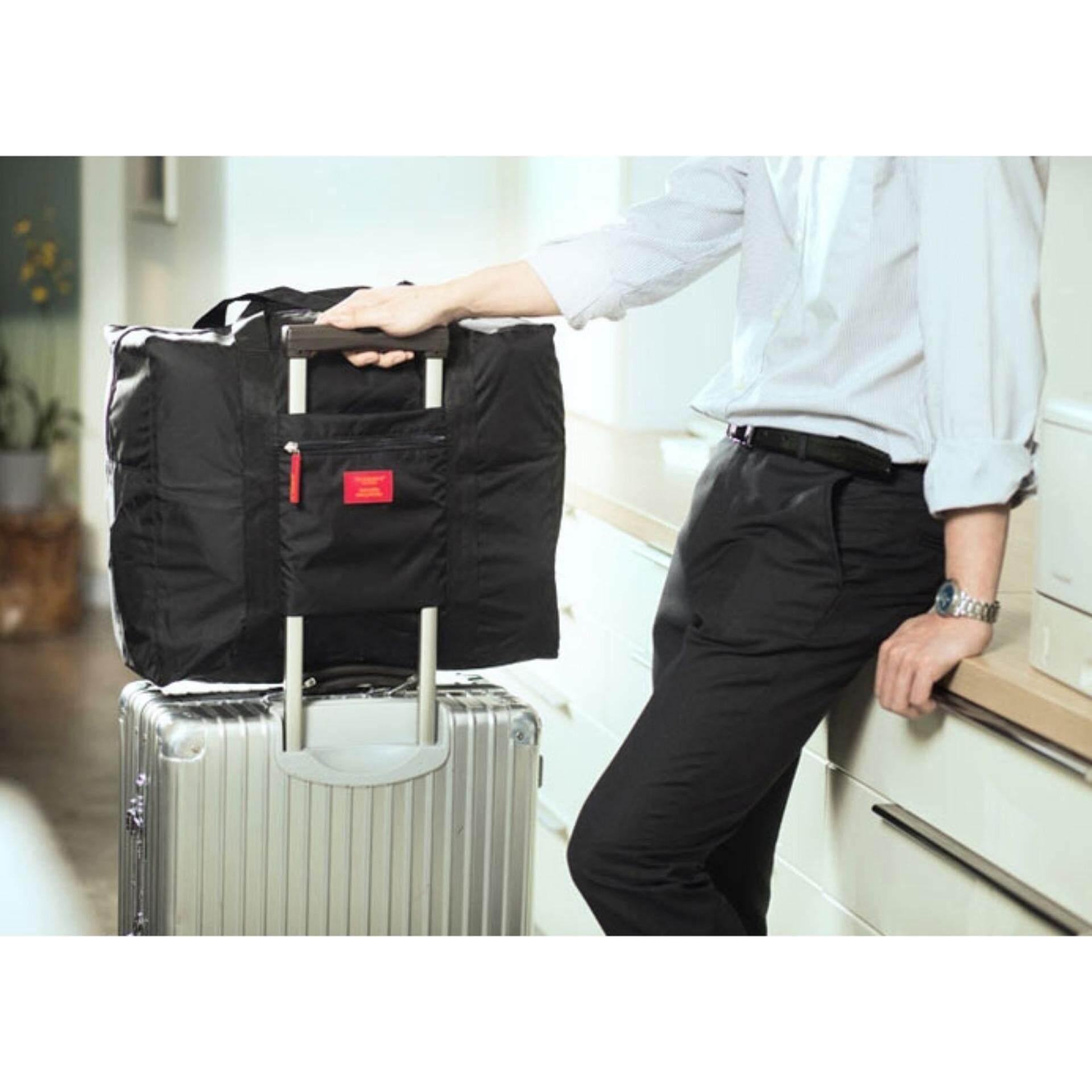Bolster Store Large Capacity Nylon Fordable Travel Waterproof Bag Storage Light Weight Bag (Black)