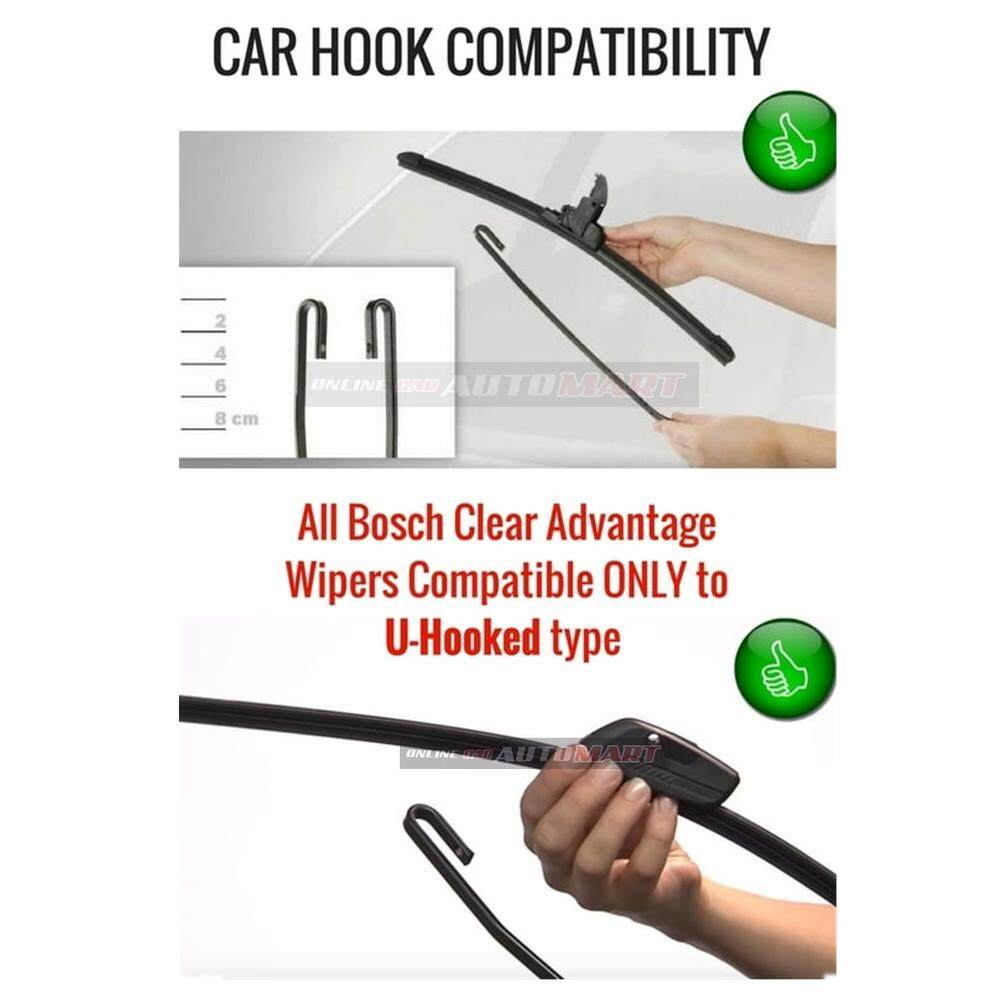 Bosch Clear Advantage Wiper 20 (Black)-Compatible only with U-Hook Type