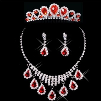 Harga Bridal jewelry diamond jewelry red wedding jewelry wedding dressaccessories CROWN necklace earrings three sets
