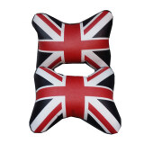 British UK Flag Series Car Styling PU Leather Headrest/Neck Pillow (Sets) - Black