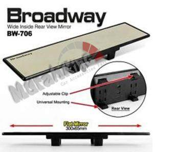 Broadway BW-746 300mm x 65mm White Screen Flat Wide Car Rear View Mirror