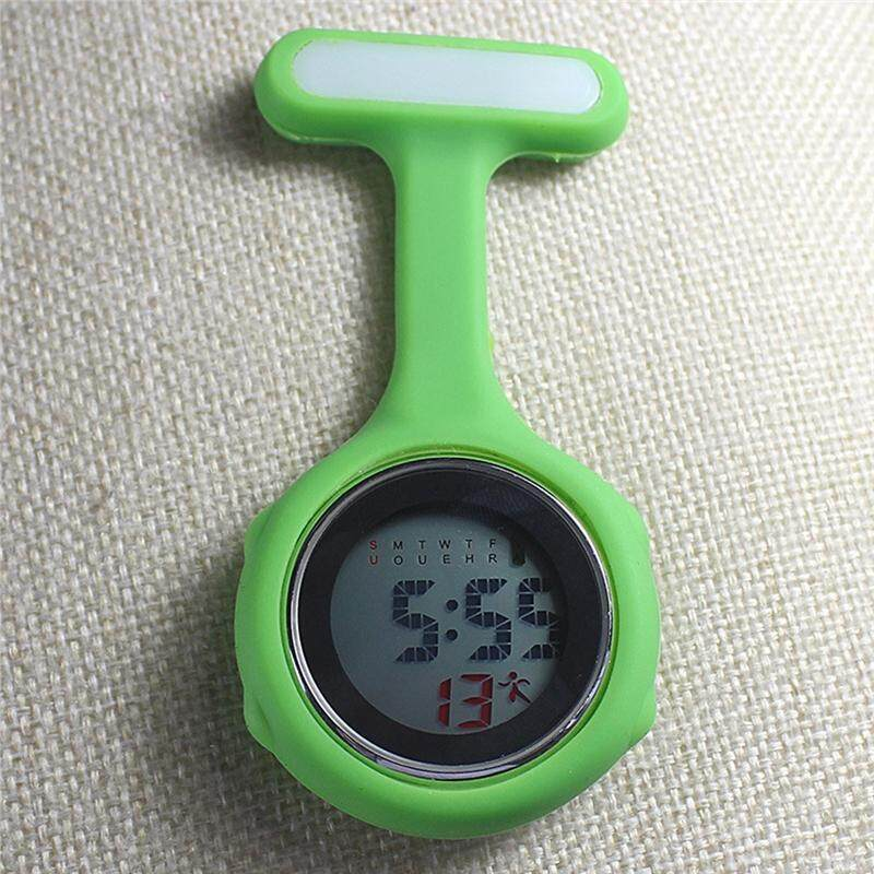 Brooch Watch Silicone Clip-on Hanging Pocket Watch Medical Clock Timer for Nurse (white) Malaysia