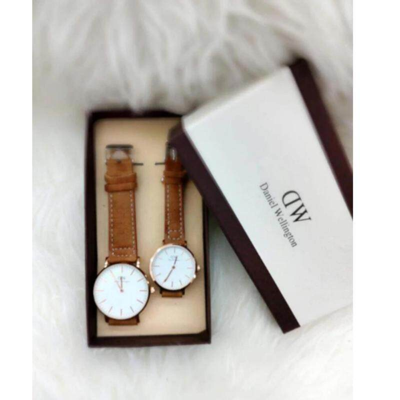 Brown Strap with White Dial (Gold Lug) Couple Watch [Daniel Welington Malaysia