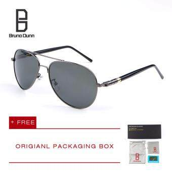 Harga Bruno Dunn Brand Men Polarized Driving Sun Glasses MB 209Sunglasses Aviator (gun frame gray lense)