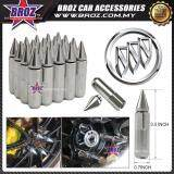 Broz Buick High Quality Aluminum Universal M12 x P1.5 Wheel Nut - Silver (20PCS)