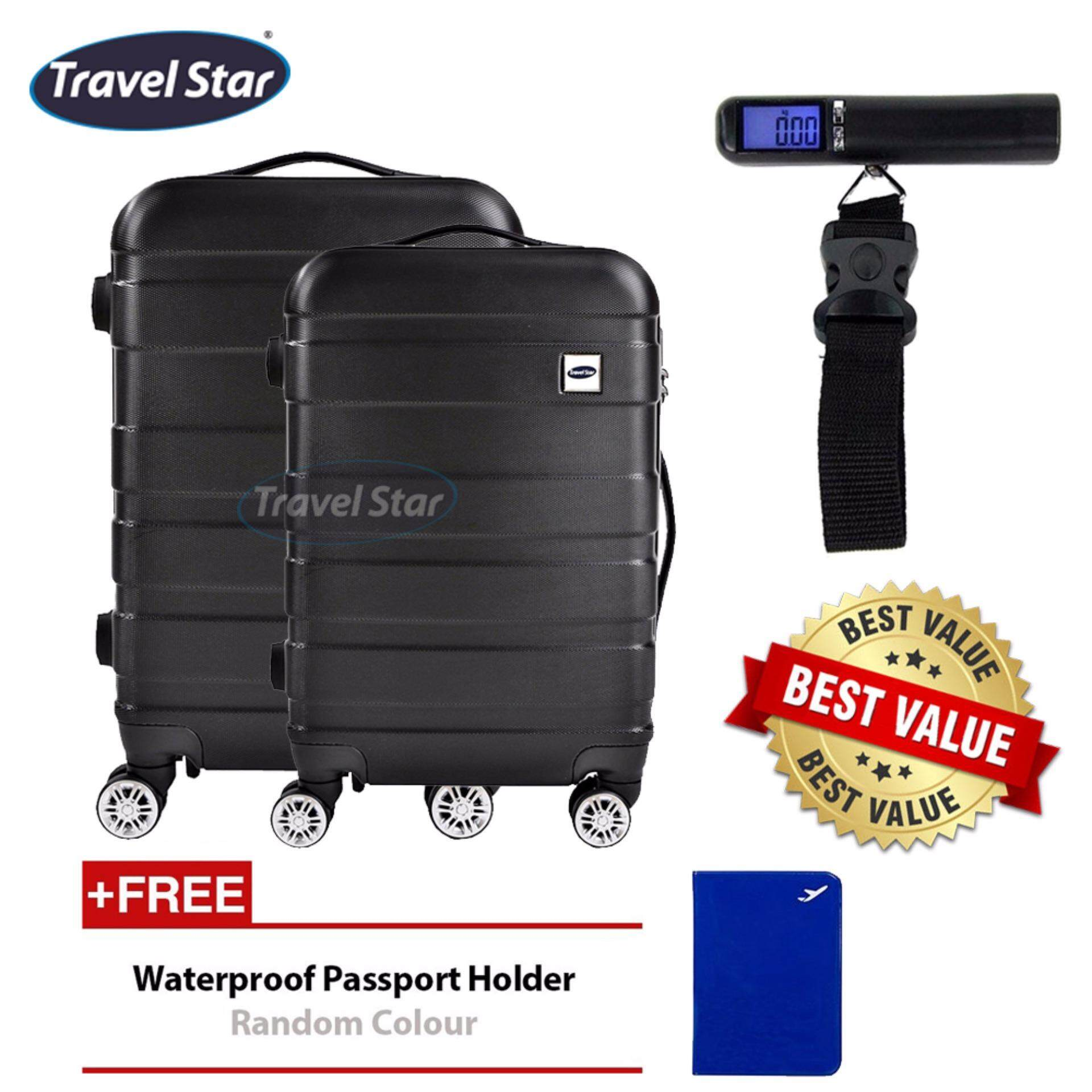Bundle : Travel Star 238 Premium Design Hard Case Luggage Bagasi Set 20+24 inches - Black + Portable Digital Luggage Scale with LCD Display