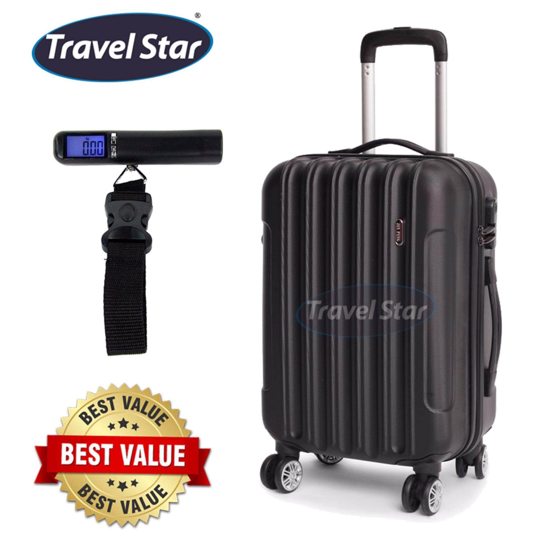Bundle : Voyage Hard Case ABS Luggage Bagasi- 20 Inches (Black) + Portable Digital Luggage Scale with LCD Display