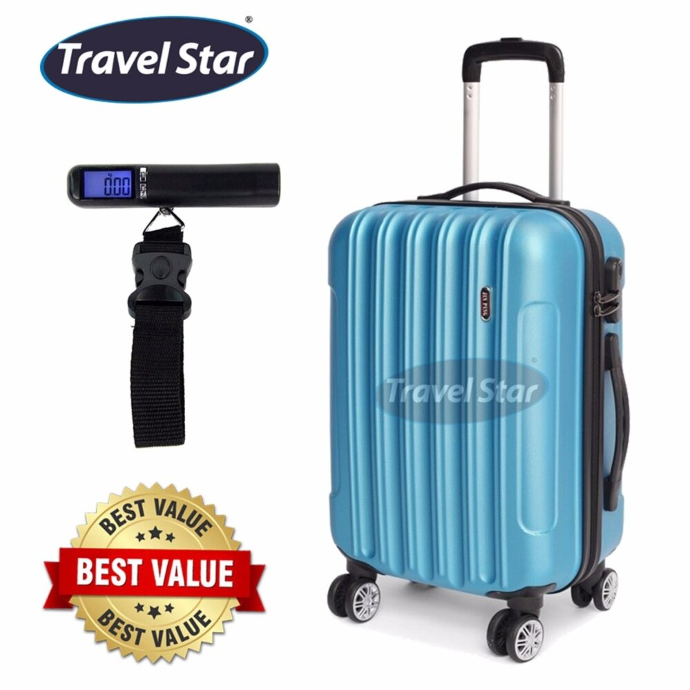 Bundle : Voyage Hard Case ABS Luggage Bagasi - 20 Inches (Blue) + Portable Digital Luggage Scale with LCD Display