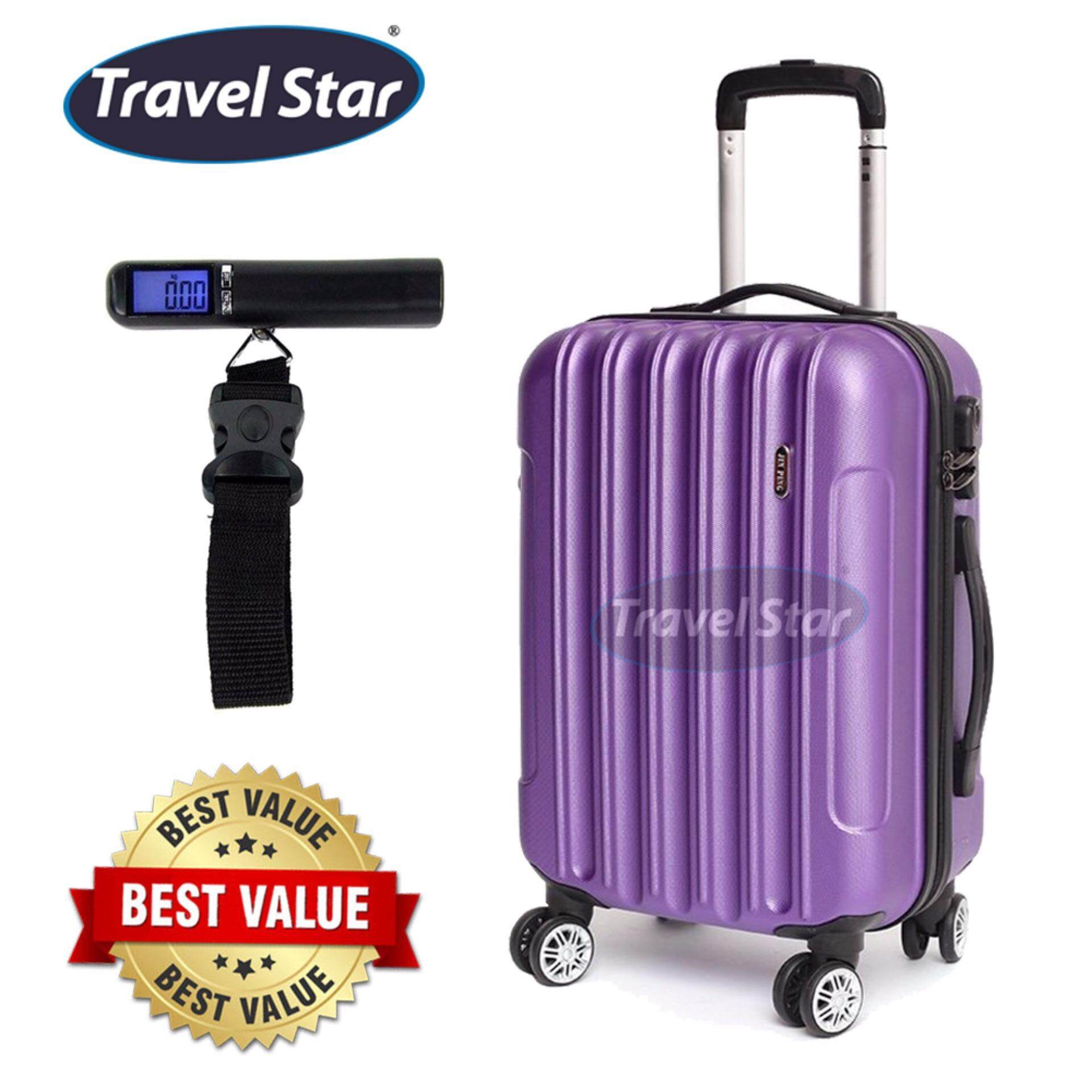 Bundle : Voyage Hard Case ABS Luggage Bagasi - 20 Inches (Purple) + Portable Digital Luggage Scale with LCD Display