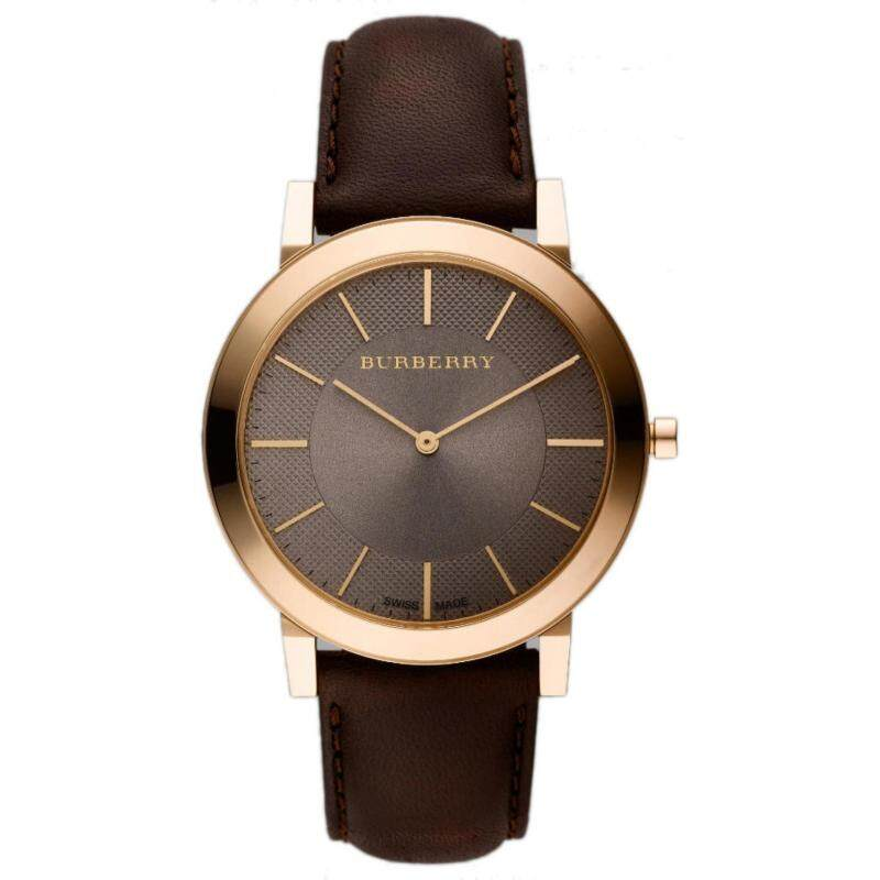 Burberry Mens Slim Brown Leather Rose Gold Tone Watch BU2354 Malaysia