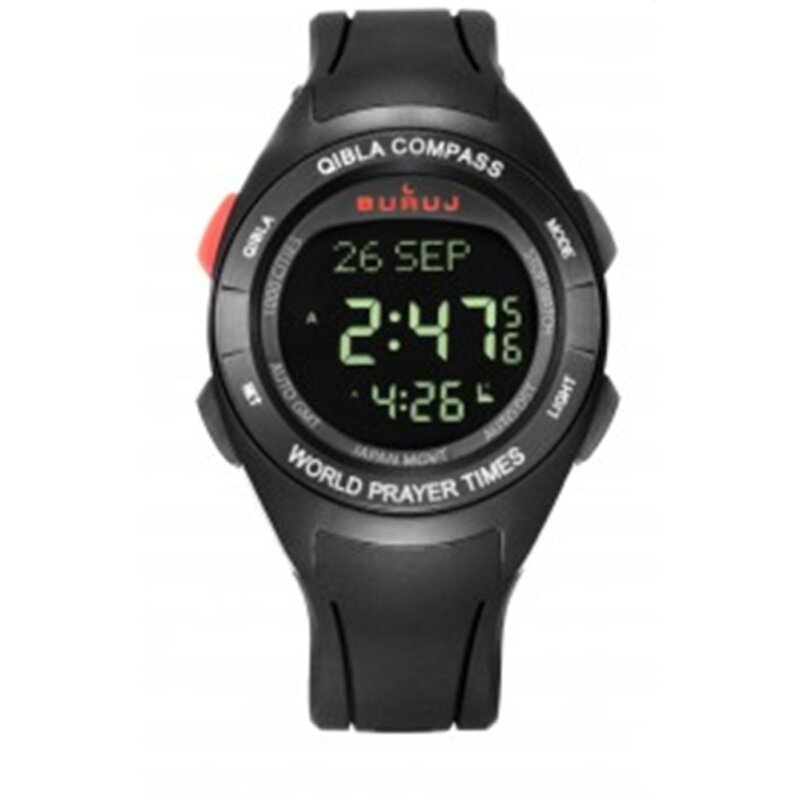 Buruj Watches-Exclusive Watch With Qiblah Compass Water Resistance (Black) Malaysia