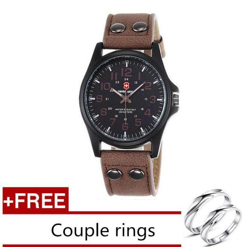 [Buy 1 Get 1 Free] Swiss Army Mens Watches Leather Strap Watch Black Dark Brown + Free Couple Rings Malaysia