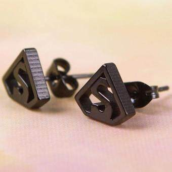 BUYINCOINS Black Silvery Stainless Steel Superman Symbol Men'sEarring Ear Studs Punk ...