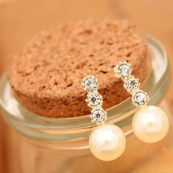 BUYINCOINS New Fashion 1Pair Women Lady Elegant Pearl RhinestoneEar Stud Earrings Jewelry