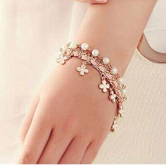 Harga BUYINCOINS Women Multilayer Clover Flower Bracelet Pearl ChainBangle Waistband Jewelry
