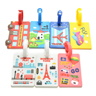 Buytra Luggage Tags Labels Strap Name Address ID Suitcase BagBaggage Travel Label Yellow Plane - 4