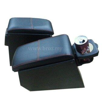 Car Armrest PVC Red Line With Drink Holder For Proton Wira