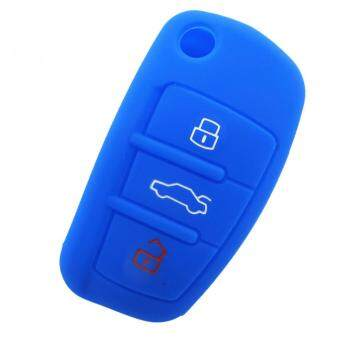 Harga Car Silicone Key Case Cover for Audi A1 A3 Q3 Q7 R8 A6L (Blue)