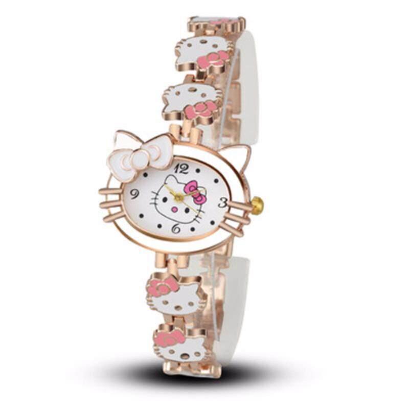Cartoon Cat Watches Women Ladies Child Dress Quartz Wrist Watch Kids Watches Girls Gift White Malaysia