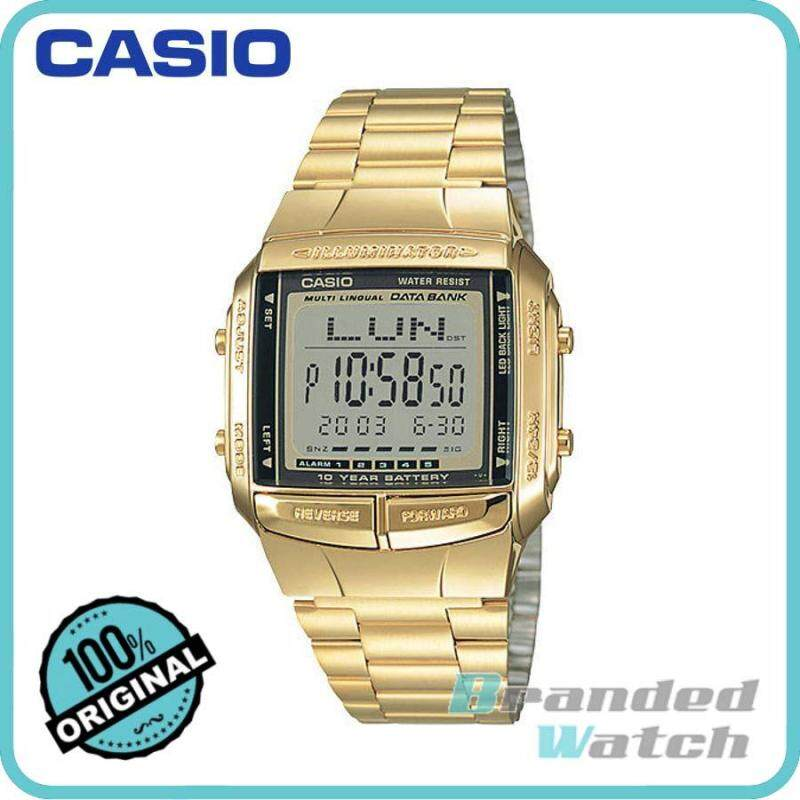 Casio DB-360G-9ASDF Unisex Data Bank 10 Years Battery Digital Gold Steel Watch DB-360G-9A Malaysia