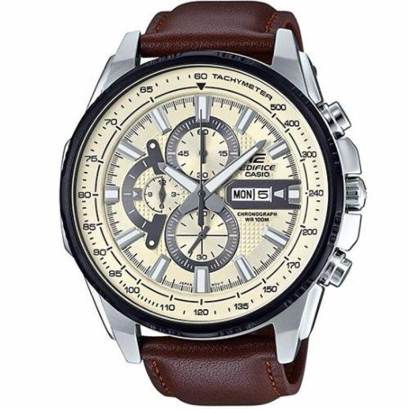 Casio Edifice EFR-549L-7B Black Ion Plated Bezel Leather Analog Watch Malaysia