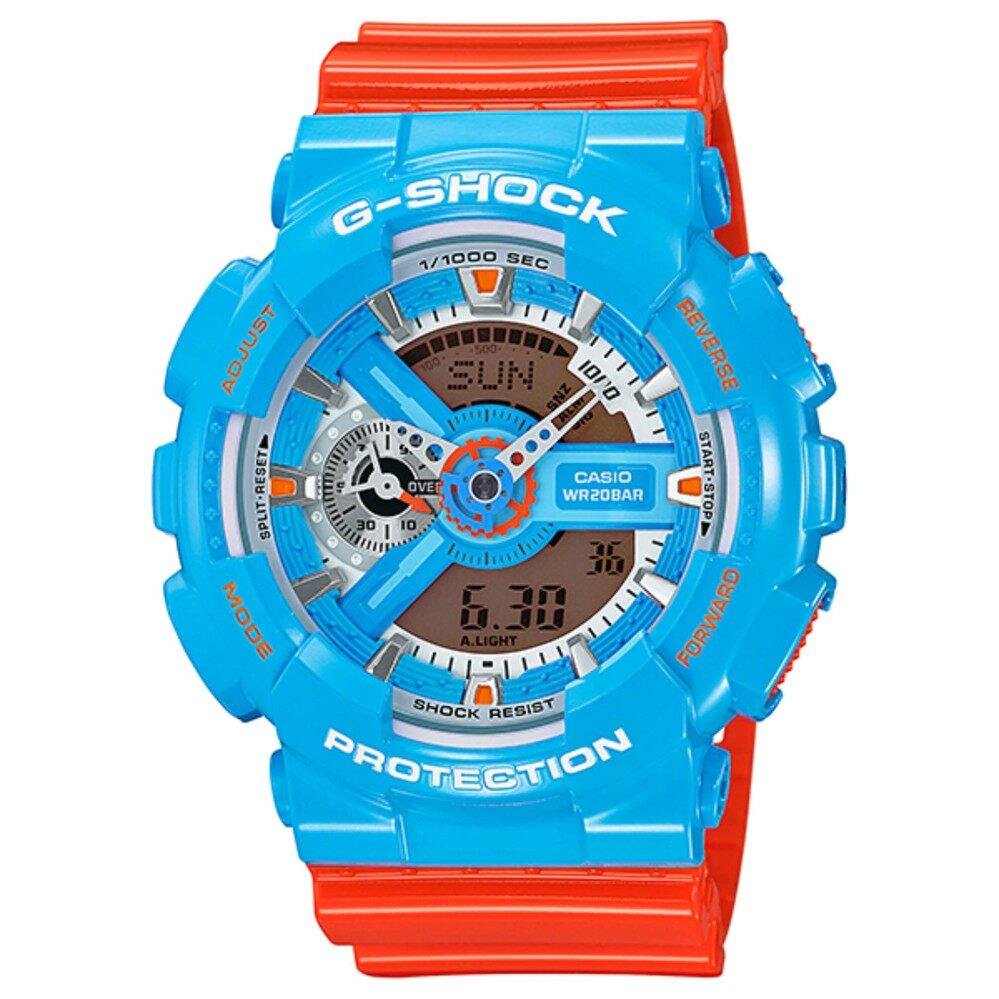 Mega Brand Sale ( C  a  s  i  o   G - S hock Blue Orange GA110NC-2A World Time Shock Watch)