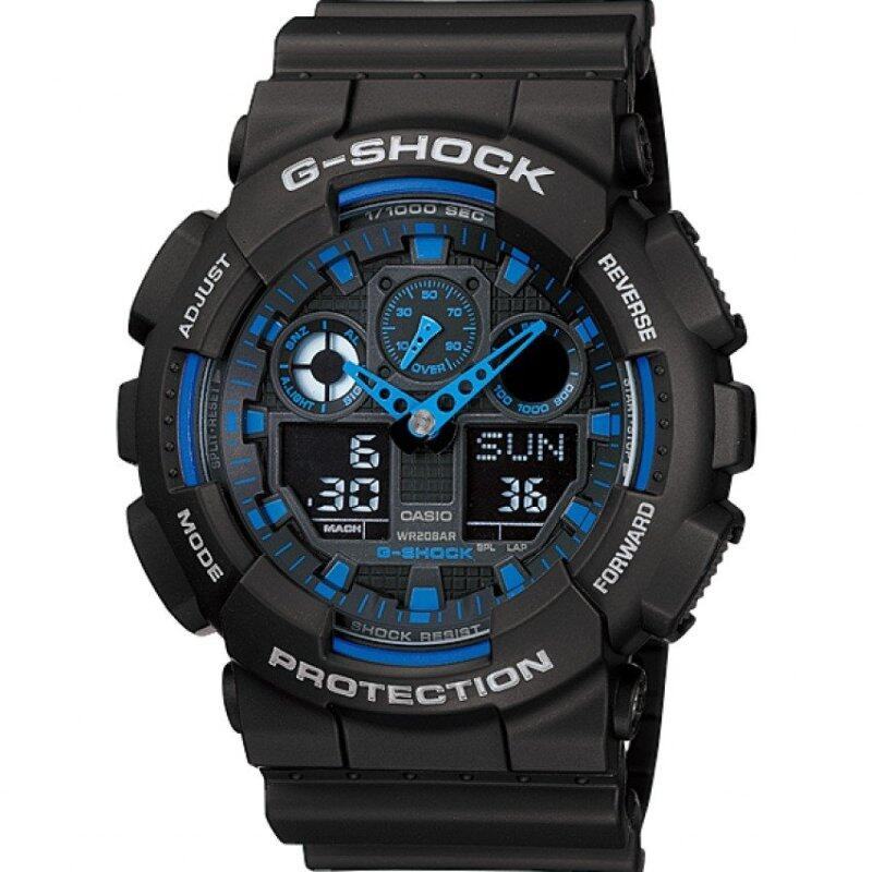Casio G-shock Ga-100-1a2 Mens Watch (Black and Blue) Malaysia