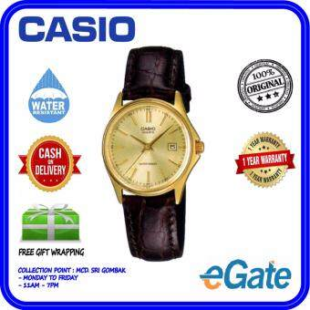 e36e41f41 Casio LTP-1183Q-9A Analog Women   Ladies Date Display Quartz Brown Leather  Gold