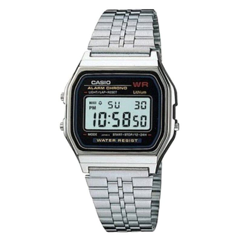 Casio Men Classic Black Dial Stainless Steel Strap Watch A159WA-N1DF Malaysia