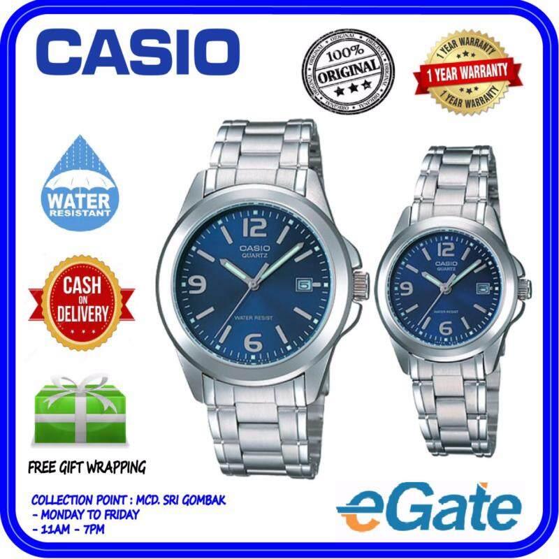 Casio MTP-1215A-2A & LTP-1215A-2A Analog Couple Watch - Silver Blue Casual Original Malaysia
