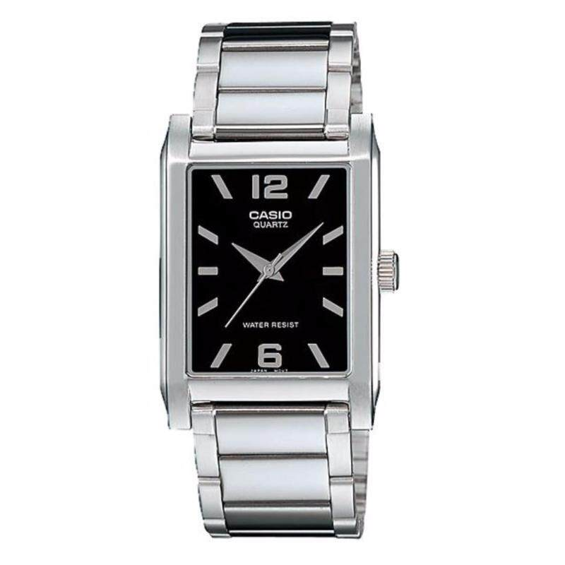 Casio MTP-1235D-1A Black Dial Stainless Steel Square Analog Men Casual Watch Malaysia