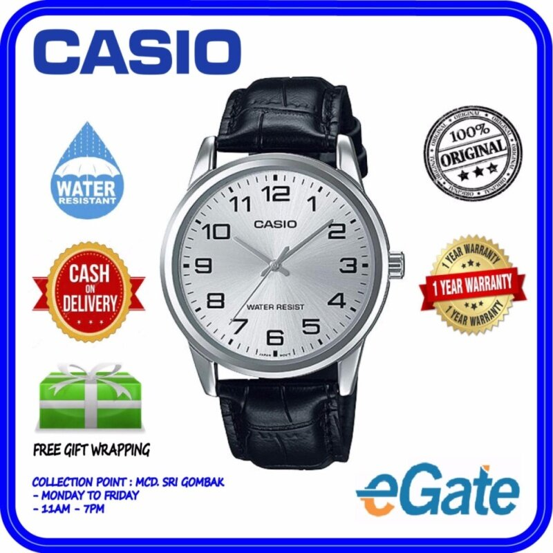 Casio MTP-V001L-7B Men Analog Watch - Black Silver Casual Original Malaysia
