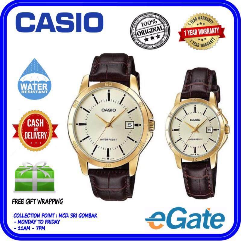 Casio MTP-V004GL-9A & LTP-V004GL-9A Analog Couple Watch - Brown Gold Casual Original Malaysia