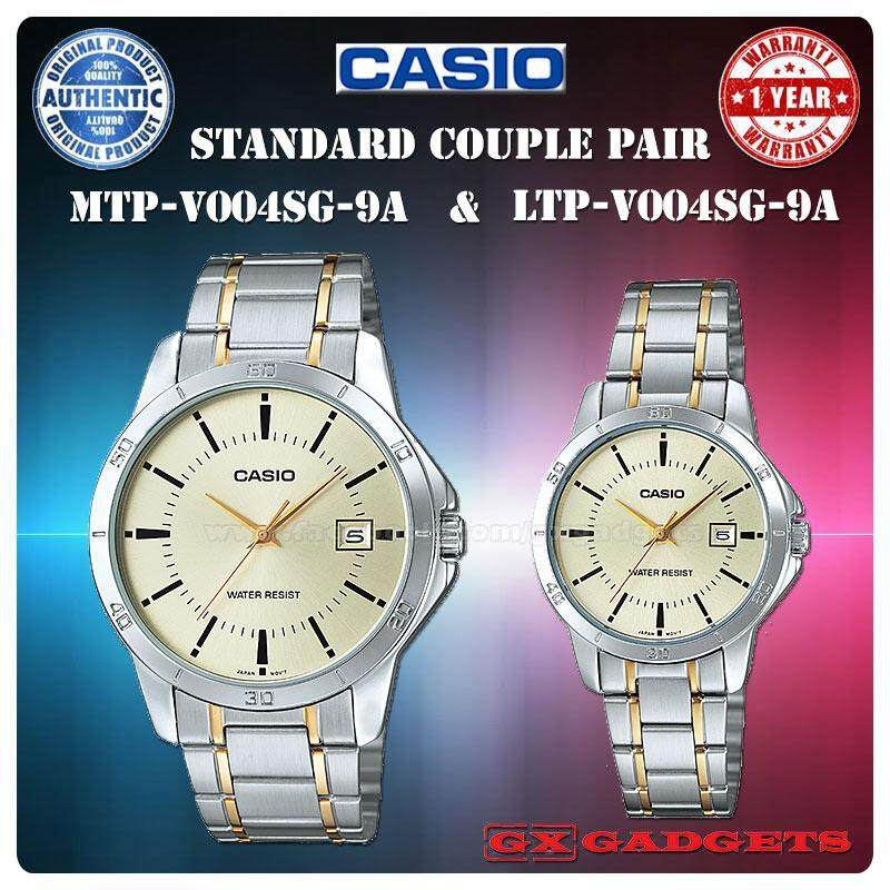 Casio Mtp-V004Sg-9A + Ltp-V004Sg-9A Couple Pair Watch Date Gip Band Wr - Silver Malaysia
