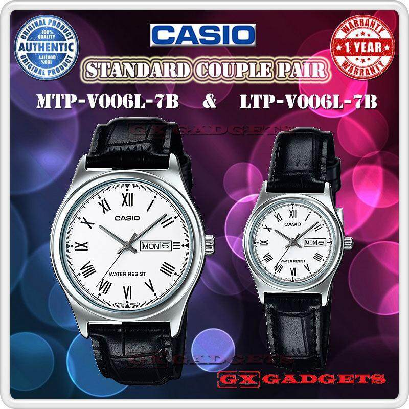 Casio Mtp-V006L-7B + Ltp-V006L-7B Couple Pair Watch Daydate Leather Wr - Silver Malaysia