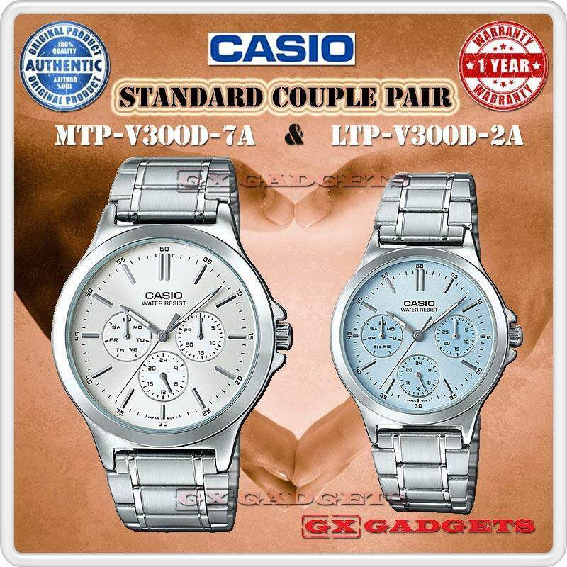 Casio Mtp-V300D-7A + Ltp-V300D-2A Couple Pair Watch 3 Dial Wr S. Steel - Silver Malaysia