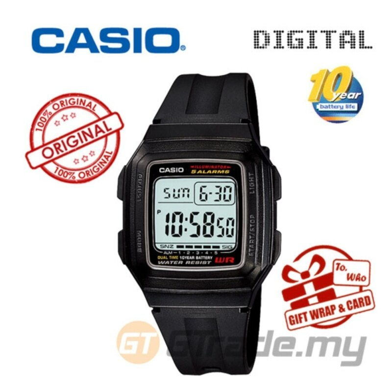CASIO STANDARD F-201WA-1A Digital Watch - Classic Simple Young Design Malaysia