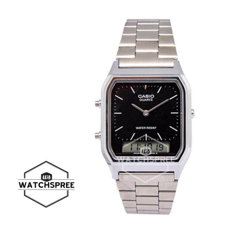 Casio Vintage Series Standard Analog Digital Silver Stainless Steel Band Watch AQ230A-1D AQ-230A-1D Malaysia
